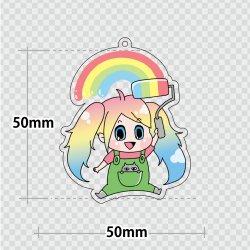 画像1: アクリルキーホルダー【50×50mm】〈両面印刷〉3個